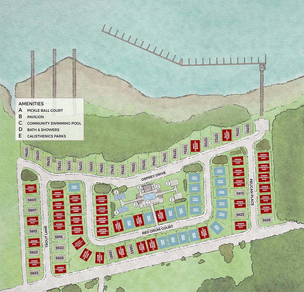 Redfish harbor sitemap, houses under contract, waterfront property
